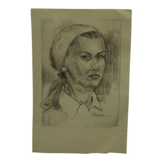 "1950s Figurative Original Drawing/Sketch on Paper ""Hair Scarf"" by Tom Sturges Jr For Sale"