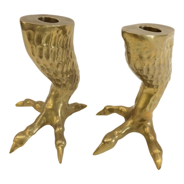 1970s Brass Eagle Claw Candlesticks- A Pair - Image 1 of 6