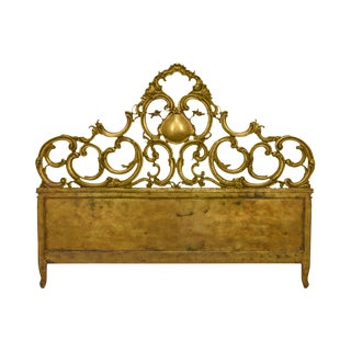 Carved Italian Gold Gilt Wood Florentine Rococo Style King Headboard For Sale