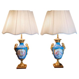 """19th Century French Celeste Blue Ground """"Sevres Style"""" Vases - a Pair For Sale"""