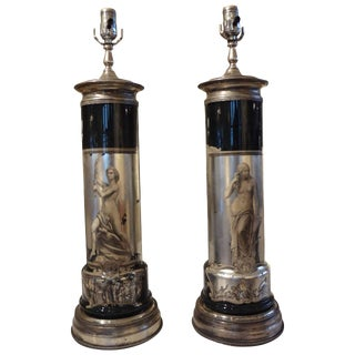 1940s Vintage Italian Neoclassical Fornasetti Style Eglomise Lamps - a Pair