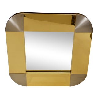 Brass and Steel Mirror by Curtis Jere For Sale