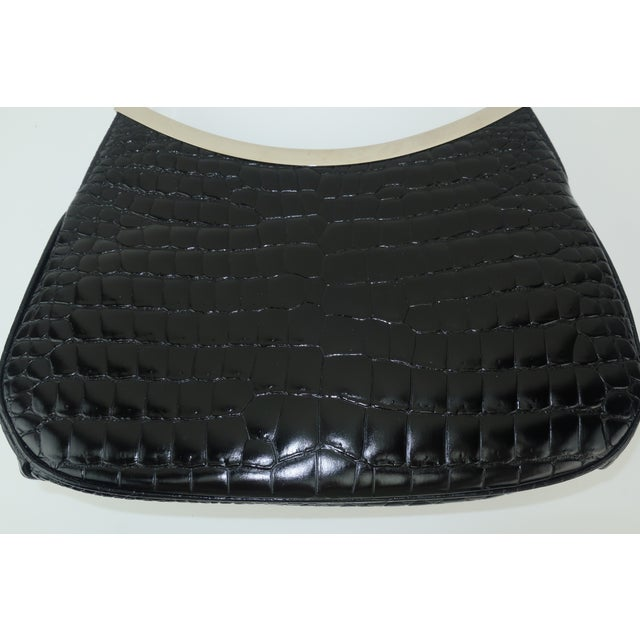 1990s Vintage Versace Black Croc Embossed Leather Handbag With Unique Handles For Sale - Image 5 of 13