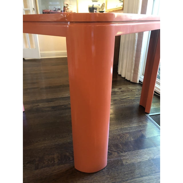 """Custom MCM game table Lacquered in Farrow & Ball """"Charlotte's Locks"""" #268."""
