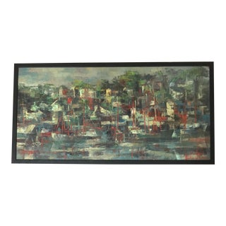 "Mid-Century ""Gloucester Harbor"" Oil Painting by Emilie De S. Atlee For Sale"