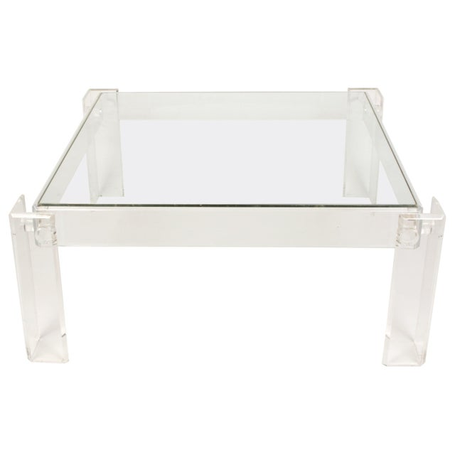 Mid 20th Century Lucite and Glass Square Cocktail Table For Sale - Image 5 of 5