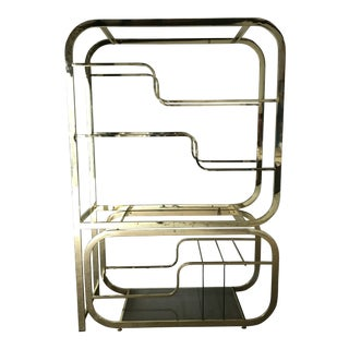 1960s Mid Century Modern Brass Etagere With Server For Sale