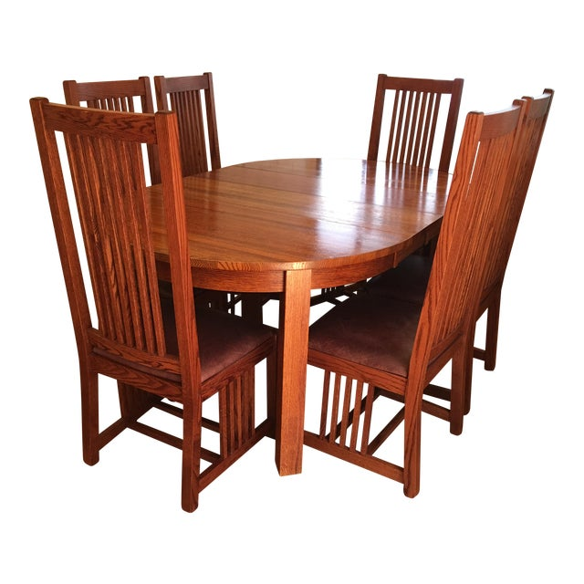 Restoration Hardware MissionStyle Oak Dining Set Set Of Chairish - Mission style oak dining table and chairs