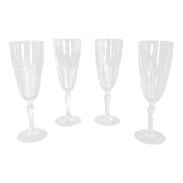 """Set of 4 Vintage Champagne Glass Crystal D'Arques Durand """"Washington"""" For Sale"""