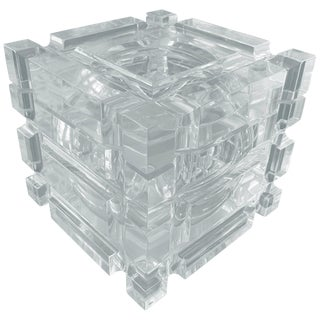 Stunning Geometric Style Ice Bucket in Lucite With a Swivel Lid For Sale