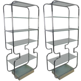 Pair of Mid-Century Modern Polished Chrome and Glass Etageres