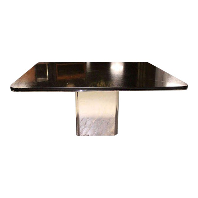 1970s Mid-Century Modern Brueton Square Granite Top and Stainless Base Dining Table For Sale