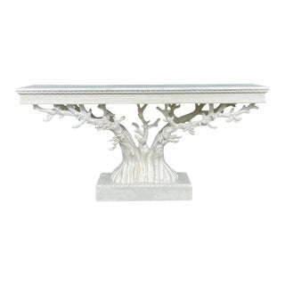 Painted Tree Form Console Table For Sale
