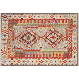 "Contemporary Afghan Maimana Kilim - 3'6"" X 5'1"" For Sale"