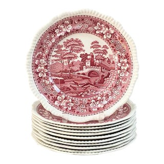 Spode Tower Red Dinner Plates - Set of 12 For Sale