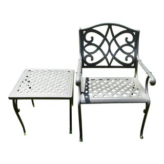 Contemporary Outdoor Patio Arm Chair and Side Table For Sale
