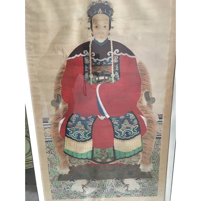 1900 - 1909 Early 20th Century Antique Chinese Ancestral Watercolor Portrait on Paper Painting For Sale - Image 5 of 11