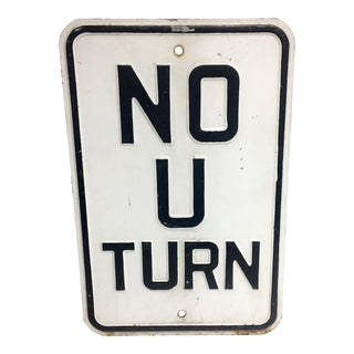 Vintage Embossed Enamel No U-Turn Road Sign For Sale