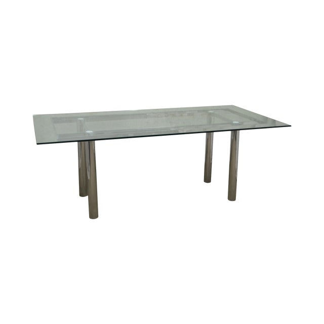 Mid Century Modern Chrome Base Rectangular Glass Top Dining Table For Sale