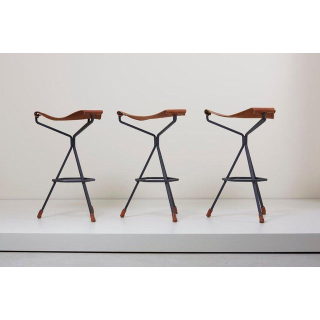 Black Set of Three Bar Stools by Dan Wenger, Us For Sale - Image 8 of 8