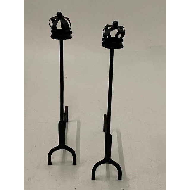 Traditional Black Cast Iron Crown Motife Andirons a Pair For Sale - Image 3 of 6