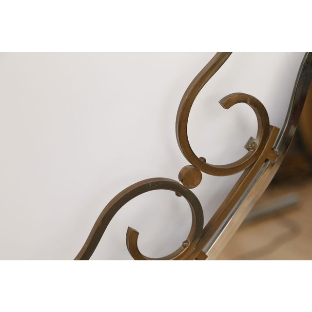 French Vintage Brass Frame Mirror For Sale - Image 9 of 10
