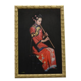 Chinese Oil Painting on Canvas Female Musician For Sale