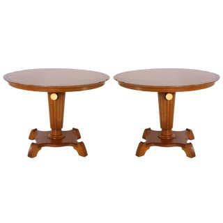 Round Elm Tables With Pedestal, C. 1920 - a Pair For Sale