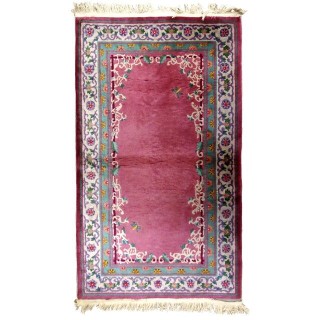 1930s Handmade Antique Art Deco Chinese Rug 2.10' X 5.10' For Sale - Image 9 of 9