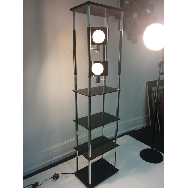 Chrome 1970s Modernist Smoky Lucite and Chrome with Shelving Floor Lamp For Sale - Image 7 of 7