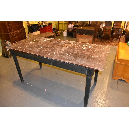 Industrial Antique Primitive Industrial Work Bench Table For Sale - Image 3 of 7
