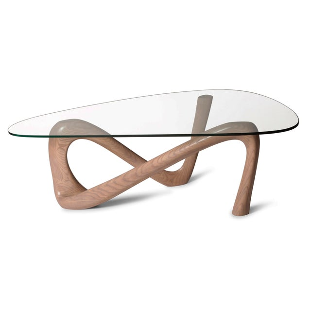 Contemporary Amorph Iris Gray Oak Stained Coffee Table With Glass Top For Sale - Image 3 of 13
