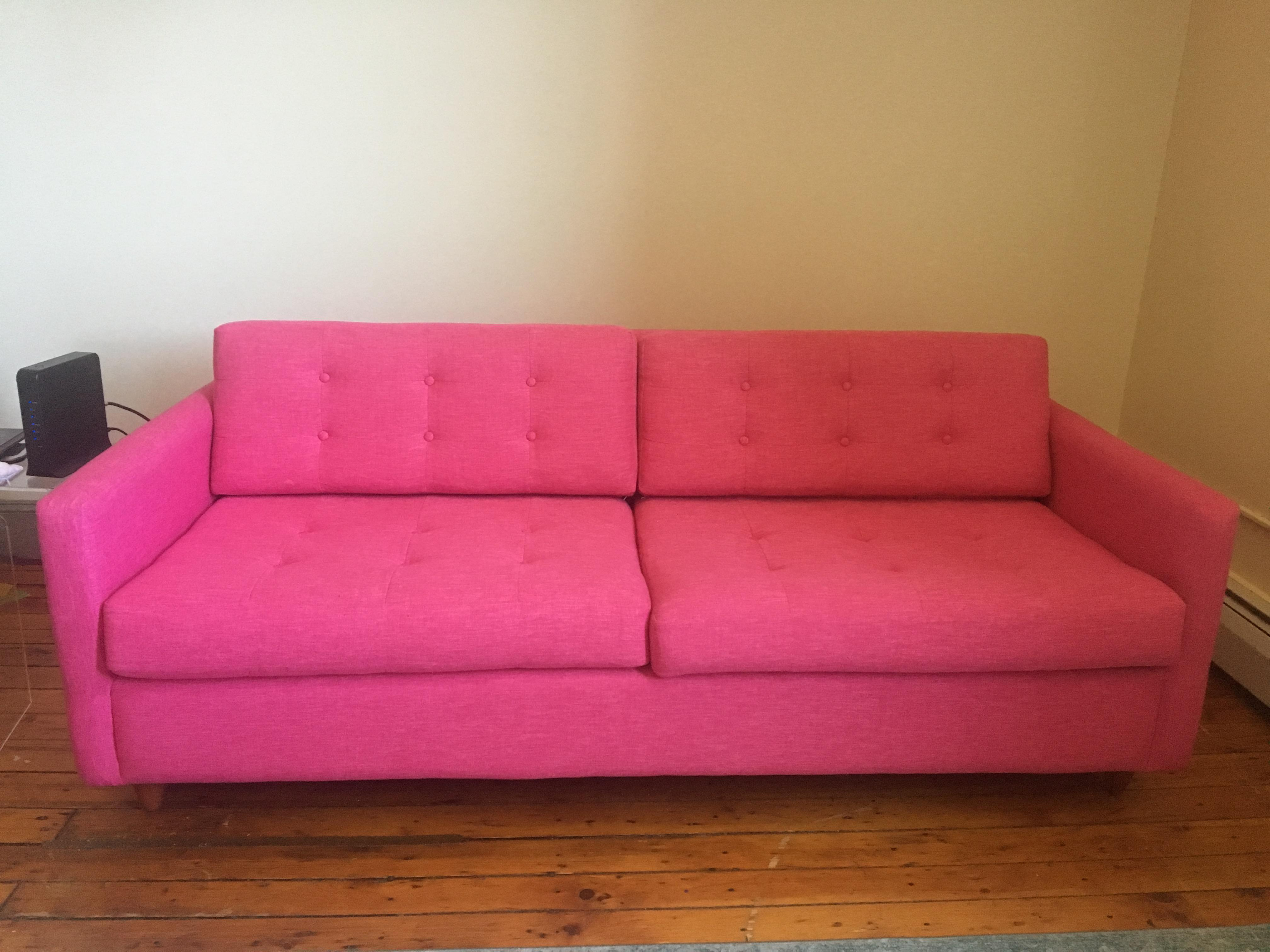 Mid Century Modern Joybird Eliot Sleeper Pink Sofa For Sale   Image 4 Of 4