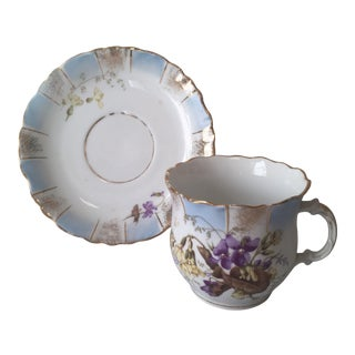 Antique KPM Porcelain Blue Gold Teacup and Saucer For Sale
