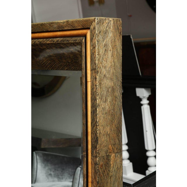 Enormous Coco Fiber Mirror with Orange Goatskin Insert For Sale In New York - Image 6 of 7