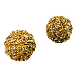 1980s Boucher Crystal Embedded Braided Gold Earrings For Sale
