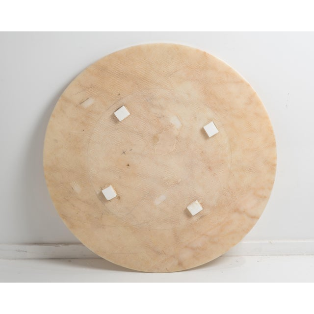 Stone Hollywood Regency Round Alabaster Coffee Table on a Drum Base For Sale - Image 7 of 13