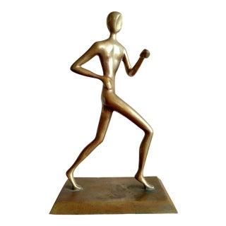 Mid-Century Modernist Brass Running Figure Sculpture For Sale