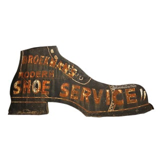 20th Century Vintage Large Antique Shoe Repair Shop Sign For Sale