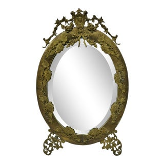 Antique French Louis XVI Brass Frame Oval Beveled Glass Mirror For Sale