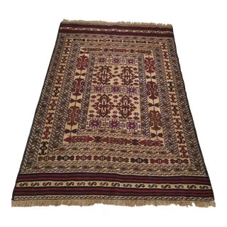 Flat Woven Hand Knotted Afghan Rug- 4′4″ × 6′5″ For Sale