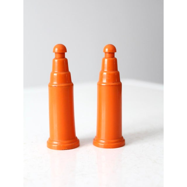 Mid 20th Century Vintage Push Top Orange Plastic Salt and Pepper Shakers For Sale - Image 5 of 8