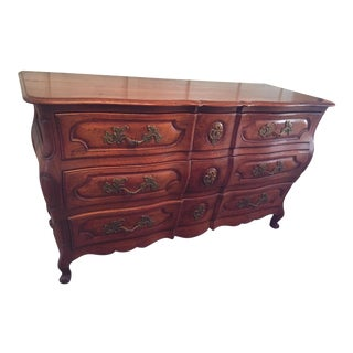 Vintage French Country Oak Triple Chest of Drawers Dresser 1920's For Sale