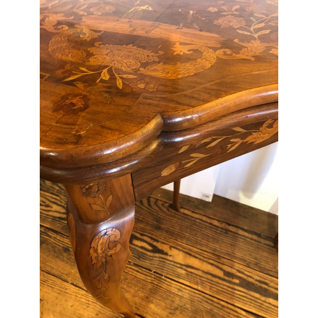 Metal 19th Century Traditional Triangular Mixed Wood Card Table For Sale - Image 7 of 12