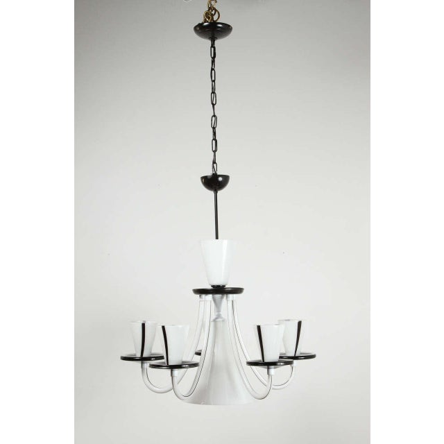 White & Black Murano 5 Arm Chandelier Fixture For Sale - Image 10 of 10