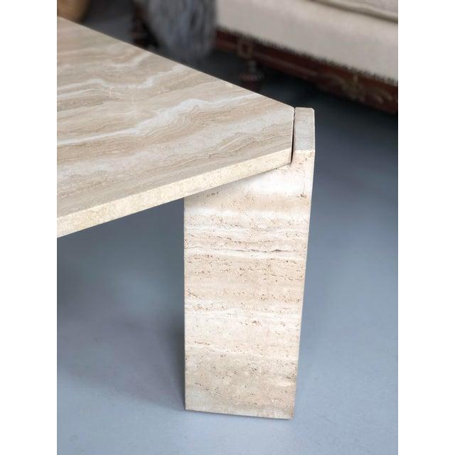 Stone International 1970s Postmodern Travertine Coffee Table For Sale - Image 4 of 8