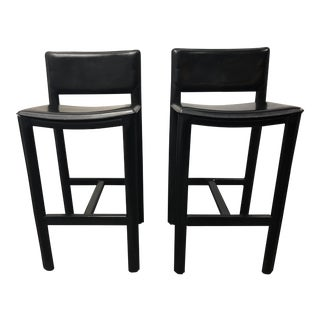 Madrid Black Leather Barstools From Room & Board - A Pair For Sale