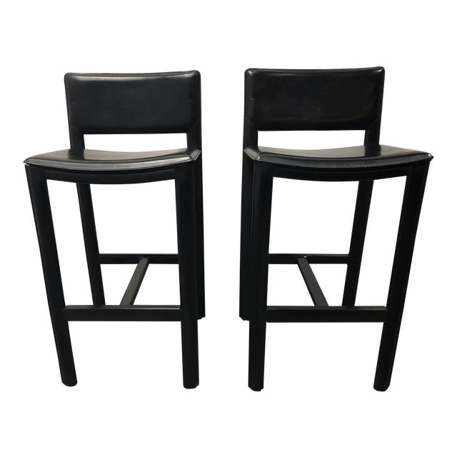 Madrid Black Leather Barstools From Room Board A Pair Chairish