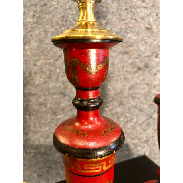 Early 20th Century 20th Century Chinoiserie Red Candlestick Lamps - a Pair For Sale - Image 5 of 9