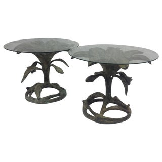 Arthur Court Patinated Bronze Lily Tables -A Pair For Sale